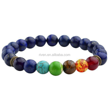 SN0776 Lapis chakra Bracelet for Men 7 chakra Beaded yoga Unique Lapis beaded man Mala Bracelet