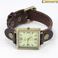 2014 Hot Sell Vintage Brown Leather Band Oversize Square Case Watch for Men Quartz Top Layer Unisex Wristwatch