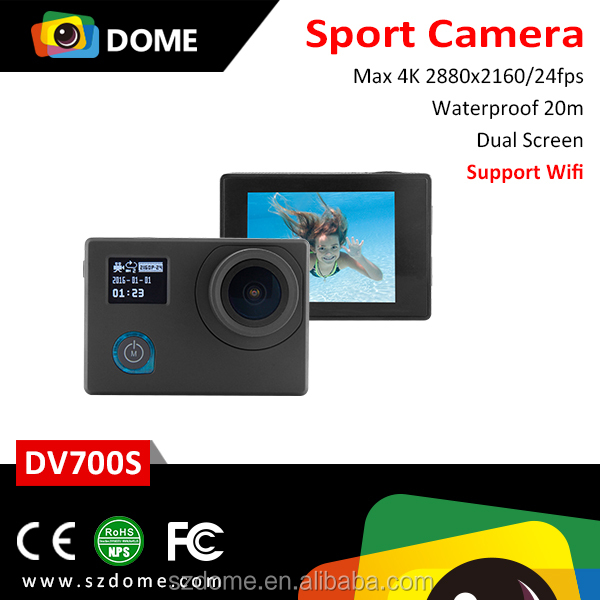 Shenzhen Factory Novatek 96660 IMX 078 sensor 2.0 inch+0.66 inch dual screen wifi 4k sports action camera be unique 2016