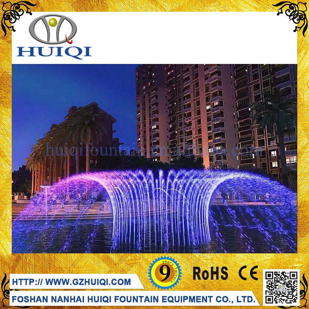 Multimedia Colorful Outdoor Music Dancing Make Water Fountain in front of Hotel Building