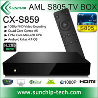 SUNCHIP CX-S859 Amlogic s805 Quad Core 1.5GHz 4K H.265 Decoder Kitkat 4.4 XBMC Factory price Android tv box