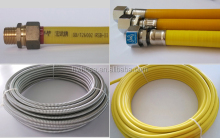 SUS 304 flexible metal hose with brass fittings for gas connector made in China