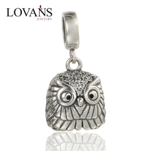 Sterling Silver 925 Jewelry Antique Design Owl Beads Hot Sale In Europe Dangle Charm