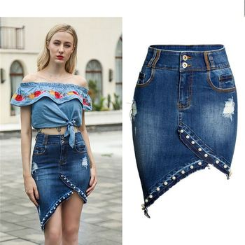 Hot sale women sexy tight stretchy denim mini skirt with pearls