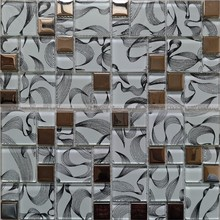 KTV room interior design Foshan price for White color printing Glass and stainless mosaic tiles WM14