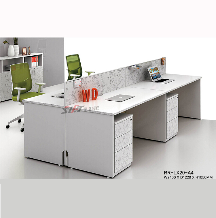2016 contemporary melamine 4 person office desk / commercial staff workstation