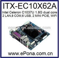 Onboard Intel Celeron C1037U 1.8G dual core based Mini ITX motherboard with 2 LAN 8COM 6 USB 4 SATA ITX-EC10X62A