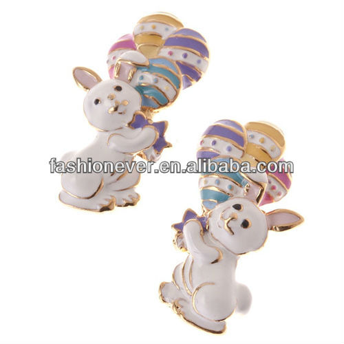 Spring Easter Jewelry Bunny with Easter Egg Balloon Stud Earrings Multi-Colored