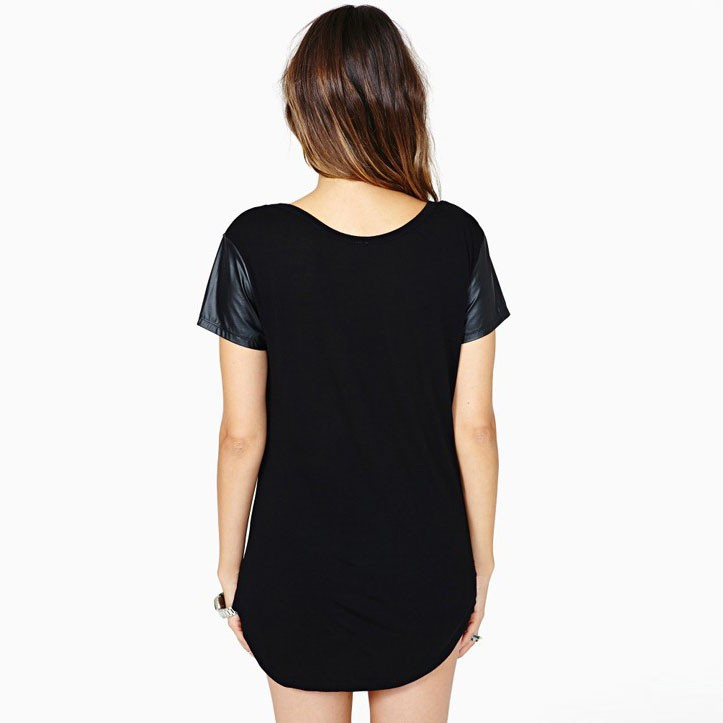Scoop Neck Long Line Curved Back Hemp High Quality Plain T
