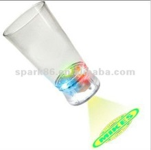 flashing cola glass with projector logo ( 13oz,color change, 3 flash modes,on/off switch , CE,RoHS approval)