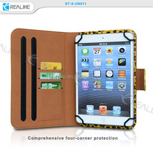 Top quality 10inch leopard rotatory stand universal tablet case with three credit card pockets