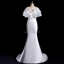 V-Neck Guangzhou wedding dress factory exotic Satin Wedding Dress