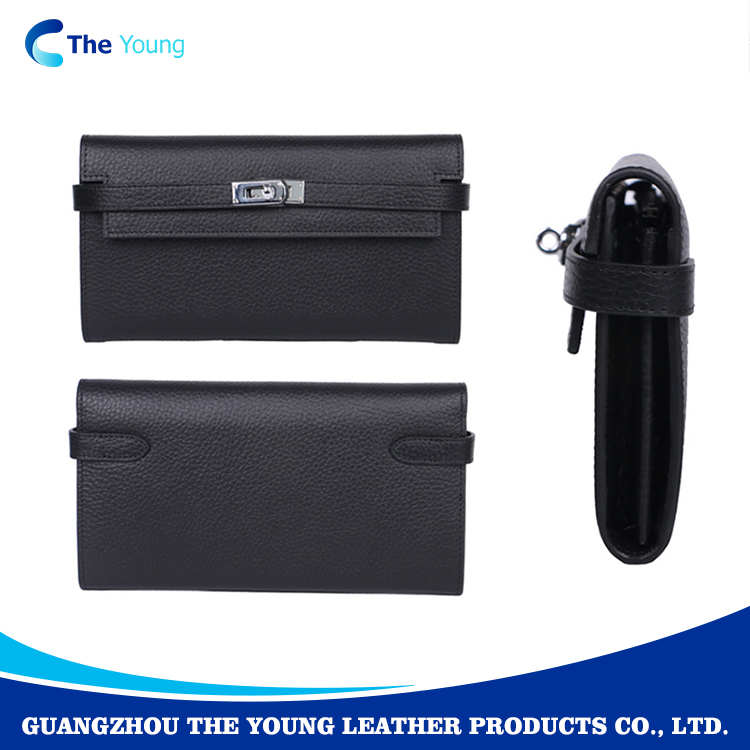 High quality lady black credit card genuine leather wallets