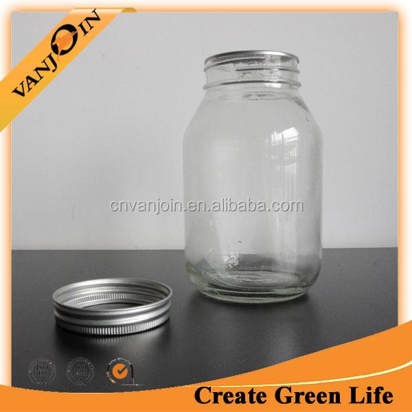 Beverage Storage 32oz Glass Drinking Jar With Lid