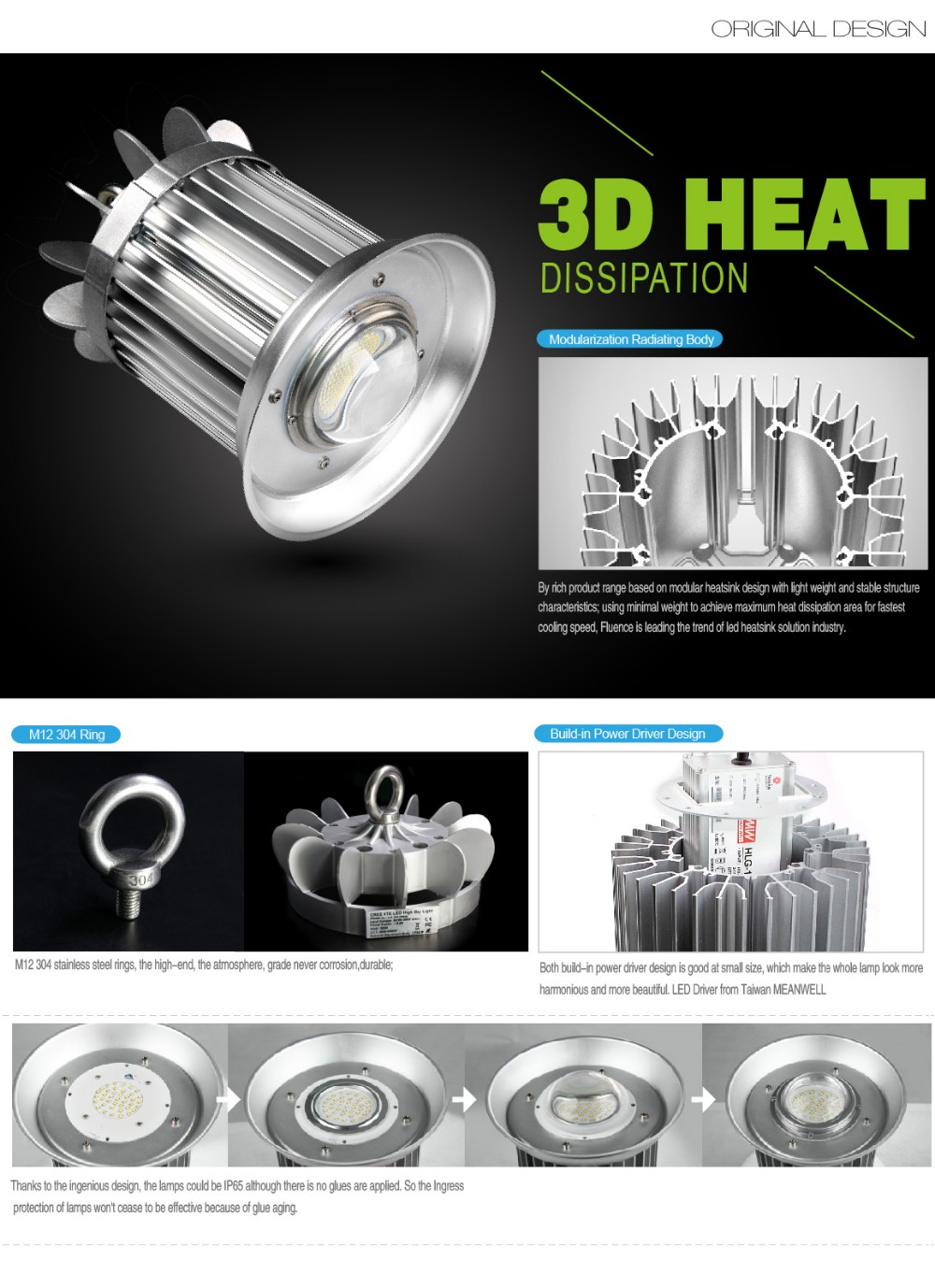 Copper Heat Pipe Design CE Rohs Approved 60W Industrial Lighting LED 5 Years Warranty Meanwell Driver Smart Control