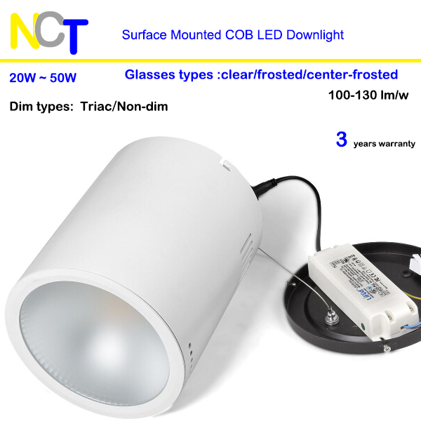 20w-50w surface mounted cob LED <strong>Downlight</strong> CRI>90 frosted cover optional 5 years warranty