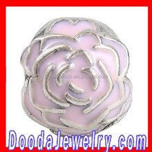 Low Price Sterling Silver Rose Garden Pink Enamel Clip Beads Wholesale