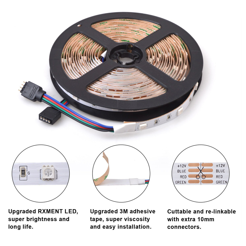 500meters stock 5050smd waterproof led strip <strong>rgb</strong> DC 12V 24V 3years warranty led lights