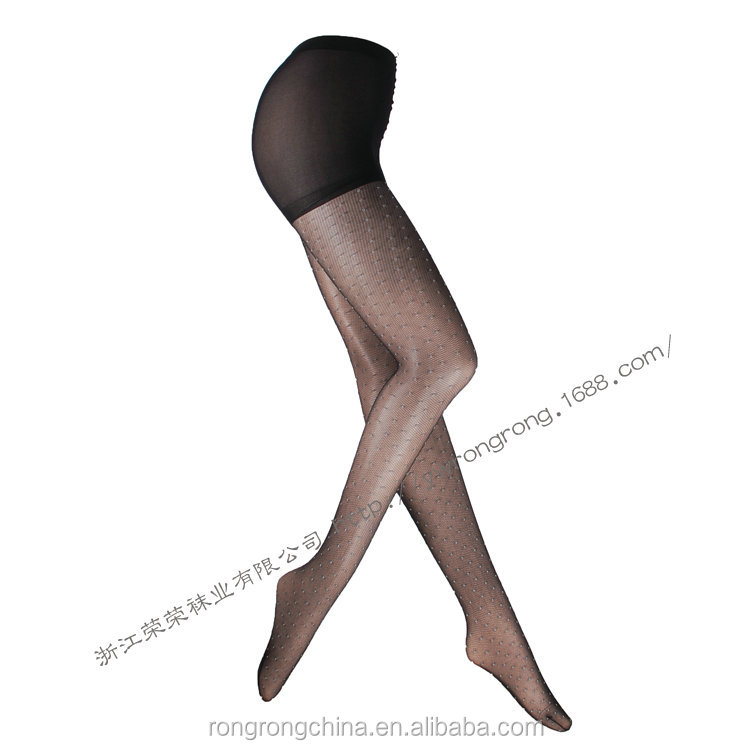 Sexy Black Seamless Pantyhose Women Shiny Pantyhose Tights With White Dots