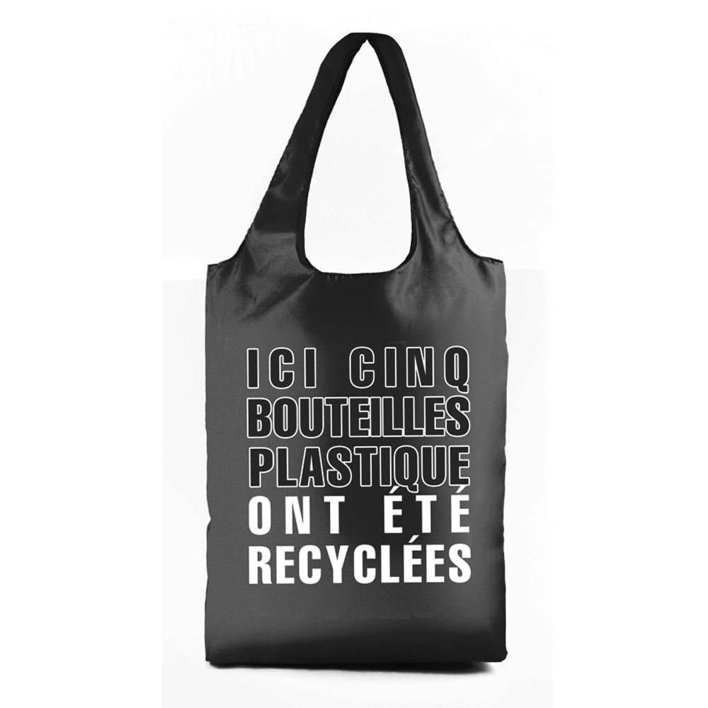 Manufacturer Brand name Large 201T Recycled PET Black Bucket sling Recycled foldable shopping bag for Men