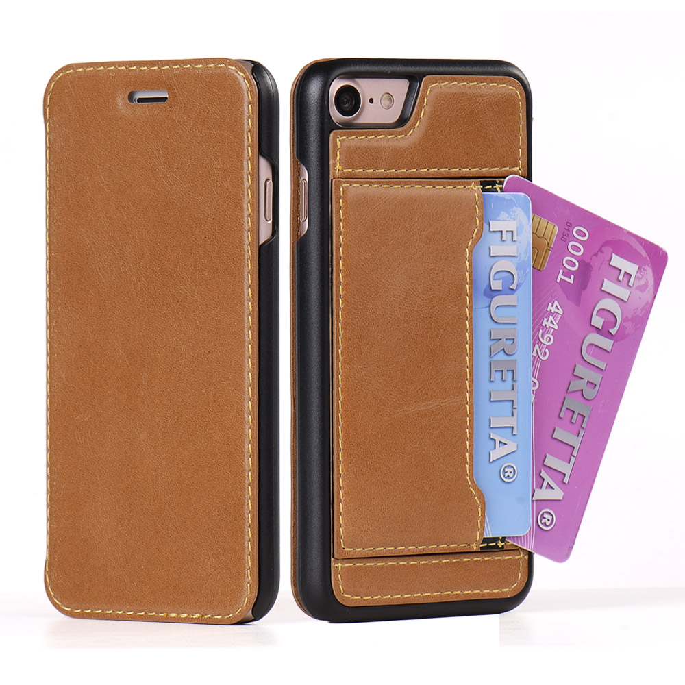 Flip Genuine Leather Case for iPhone 7