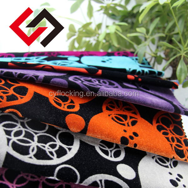 fabric textile 100% polyester woven flower flocking for sofa