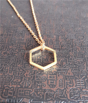 Geometric tiny gold hexagon necklace
