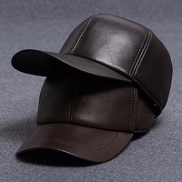 Unisex Lamb Leather Curved Brim 6 Panel Baseball Cap Dad Hat