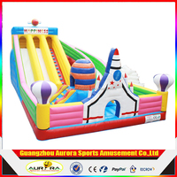 2017 hot sale inflatable water slide for kids and adults Giant dual slide inflatable obstacle course bouncy castle