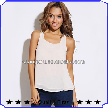 Simple sleeveless lady's tops cool design chiffon tops for women