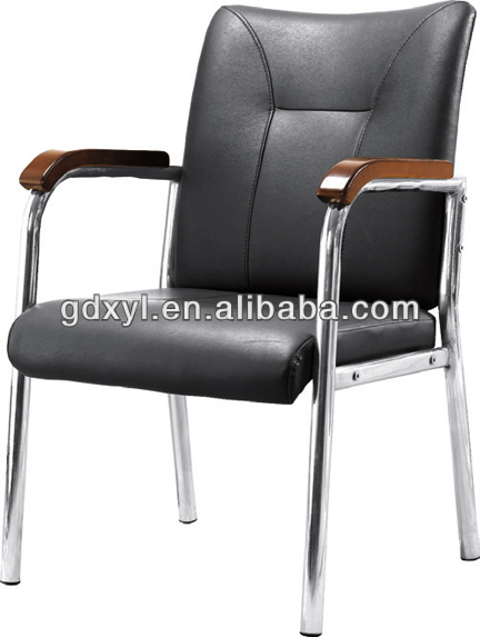 Leather conference chair with wooden armrest (Tear open outfit)