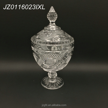 Factory price long stem footed large size glass sugar bowl, candy storage, candy jar with lid