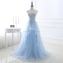 High Quality Pure Color Light Blue Chiffon Royal Backless Bridesmaid Wedding Party Dress Long Evening Dress 2017