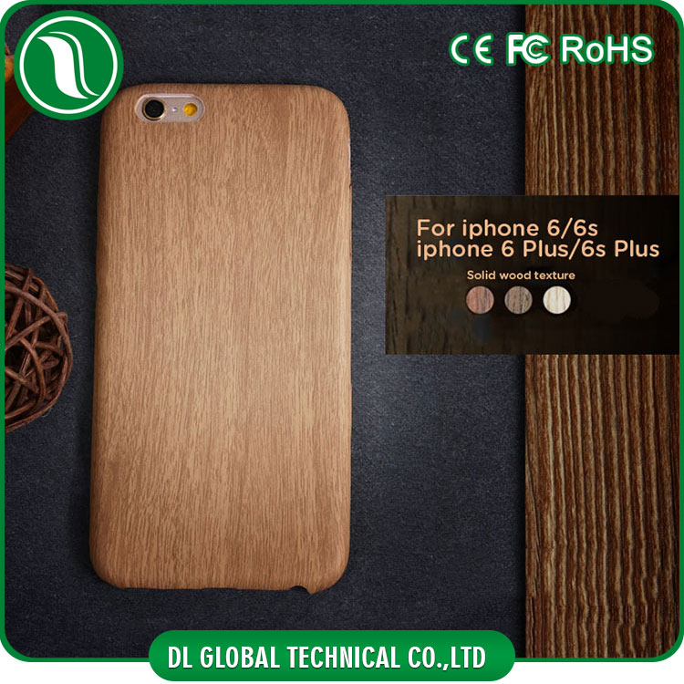 Elegant hard plastic case with natural wood grain for iphone 6 wood case