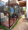 Stainless steel and iron dog cage with wheels