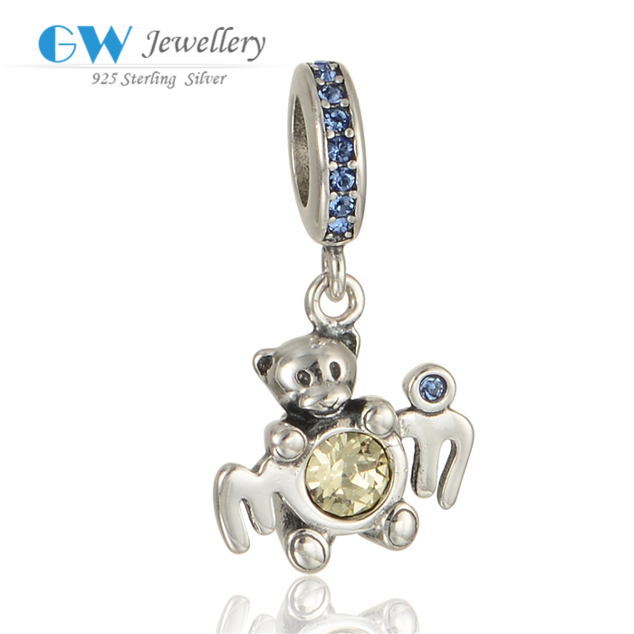 Fashion Silver Bear Pendant Charm With Clear Stone For Bracelet Making