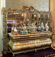 Luxury home european sideboard,classical side cabinet with mirror,wooden hand carved with brass/bronze(B50879)