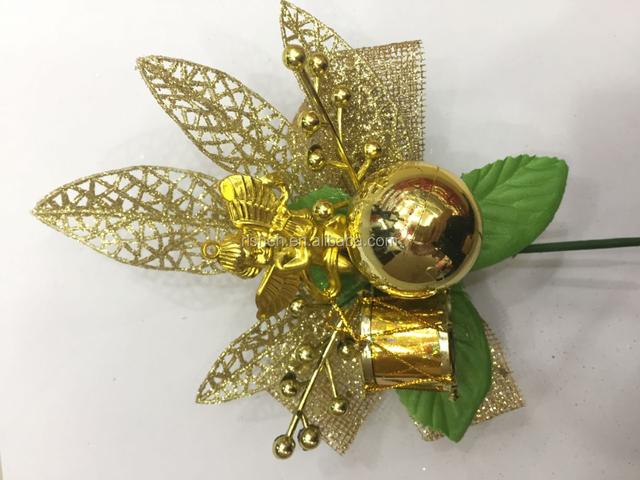 2017 golen angel decorations drum set christmas ornament decorative floral picks