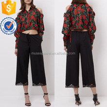 Black Cropped Lace Trousers OEM/ODM Women Apparel Clothing Garment Wholesaler Ropa Mujer