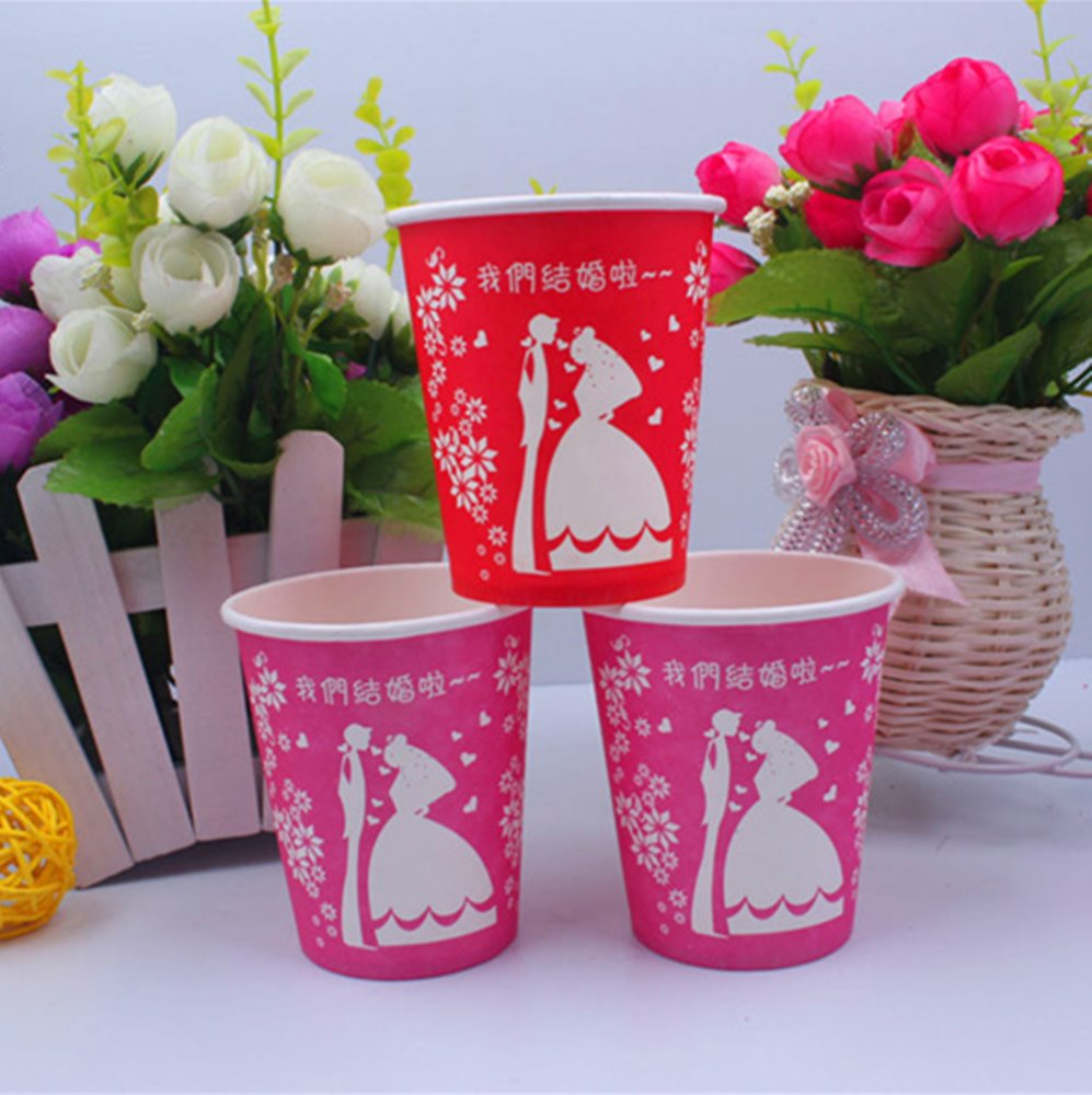 Wedding pink double color holding flowers paper cups festive supplies