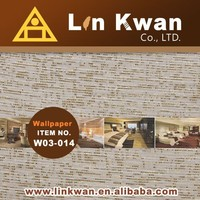 Linkwan Taiwan W03-014 woven hotel fabric bamboo wallpaper green