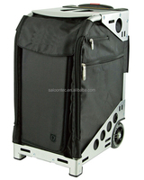 Zuca Stealth Sport Insert Bag (Black, Black embroidery) with Black Non-Flashing-Wheels Sport Frame