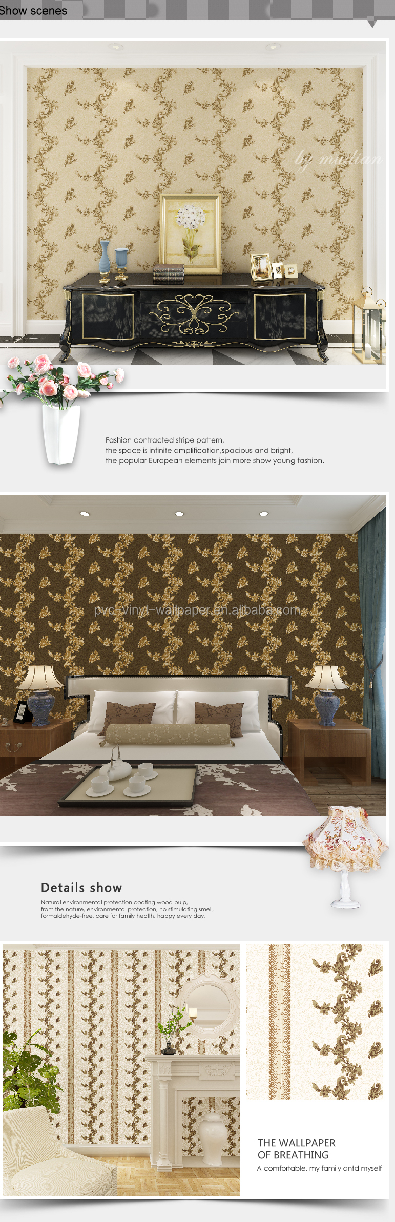 Wholesale bedroom decoration vinyl film for wall wallpaper