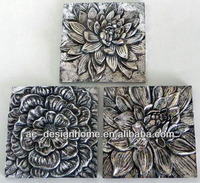 ANTIQUE SILVER POLYRESIN DAHLIA WALL DECORATION 3/A