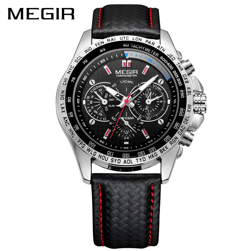 New Design Luminous Hand Male Business Casual Wrist Watch Fashion Leather Strap Waterproof Quartz Megir Luxury Men Watch <strong>1010</strong>
