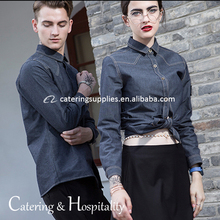 Wholesale Custom OEM modern custom restaurant hotel waiter waitress denim uniforms