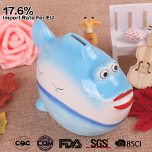 colorful hand painted fish shaped kids ceramic coin bank with lock and key