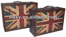 Leather covered wooden trunk with antique style, shabby chic wooden trunk Union Jack