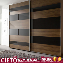 Modern simple design bedroom furniture Knock Down Flatpack sliding door wardrobe for sale