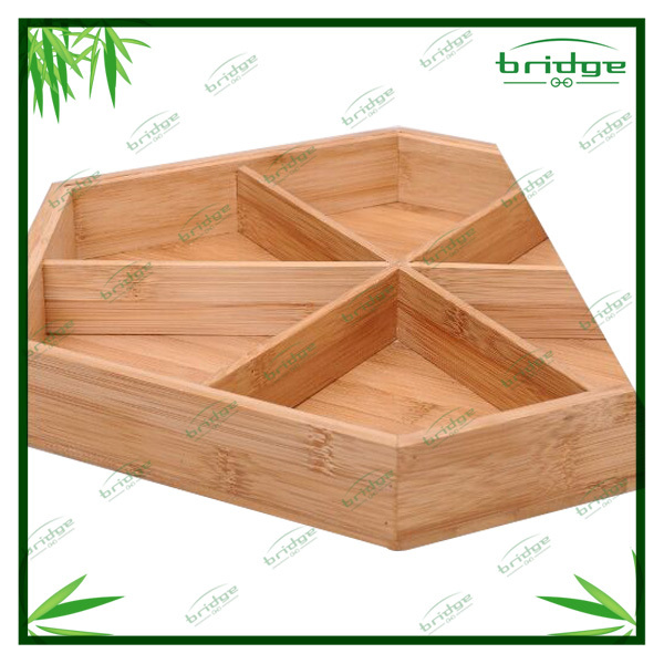 Hot sale natural bamboo snack storage box tray